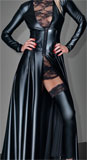 Mantelkleid im Powerwetlook, tailliert S